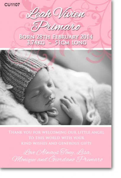CU1107 - Girls elegant baby announcement