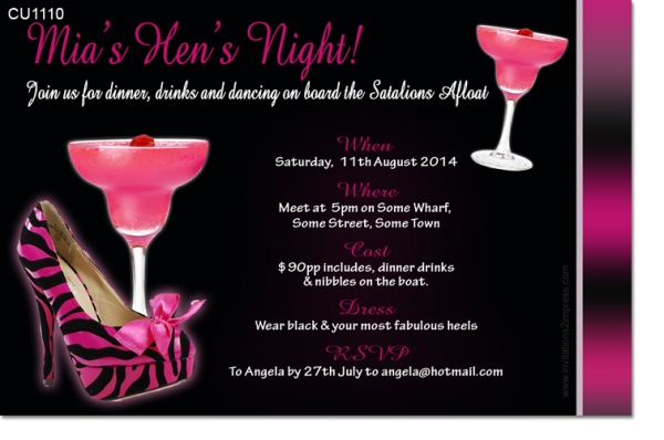 CU1110 Birthday or Hens Night hot pink and black invitation