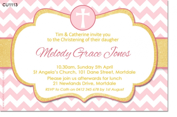 CU1113 - Girls pink and gold Christening Baptism invitation