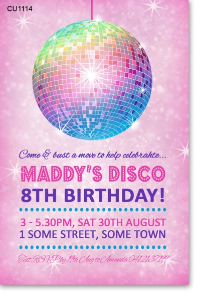 CU1114 - Girls disco Party Birthday Invitation