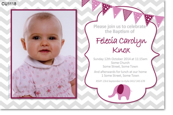 CU1118 -  Boys Chevron Baby Elephant Invitation
