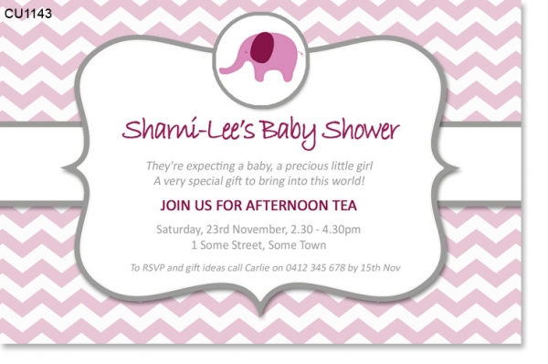 CU1143 - Pink Elephant Chevron Baby Shower Invitation