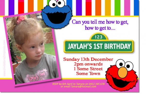 CU1152 - Sesame Street Birthday Invitation Template with Elmo an