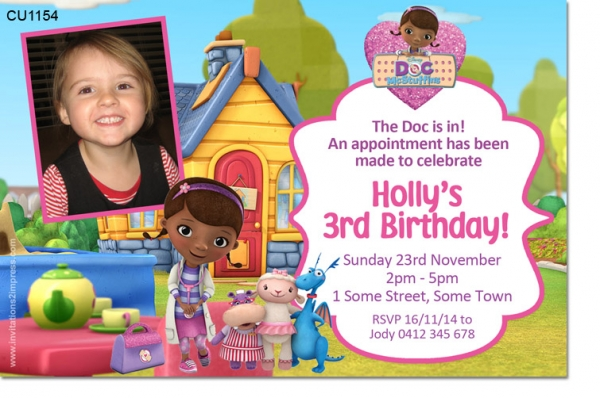 Cu1154 girls doc mcstuffins birthday invitation girls themed cu1154 girls doc mcstuffins birthday invitation filmwisefo