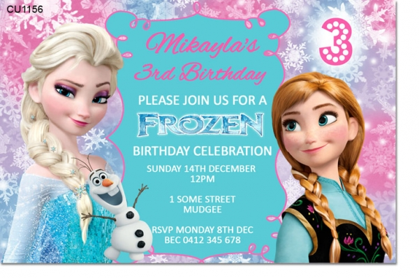 Cu1156 Frozen Birthday Invitation Template Girls Themed Birthday