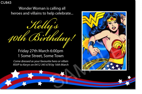 Cu843 Wonder Woman Birthday Invitation