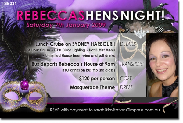 SE331 - Masquerade Party Invitation Hens Birthday - Hens Night ...