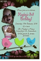 BC160 - Girls Birthday Invitation Little Birds