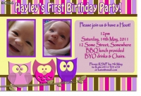 BC165 - Girls Birthday Invitations - Owls