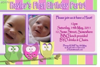 BC174 - Owls Girl Pastel Invitation