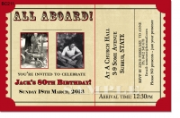 BC211 - train ticket Birthday Invitation