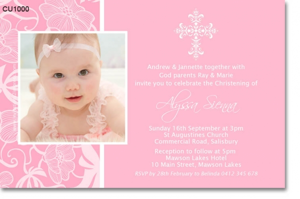 Cu1000 Pink Lace Christening Invitation Girls
