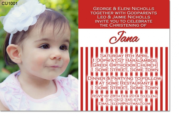 CU1001 - Red Stripes Christening Invitation 6x4