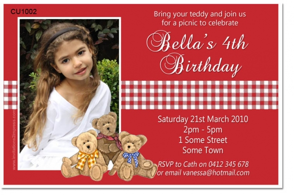 Cu1002 teddy bears picnic birthday invitation girls themed cu1002 teddy bears picnic birthday invitation filmwisefo