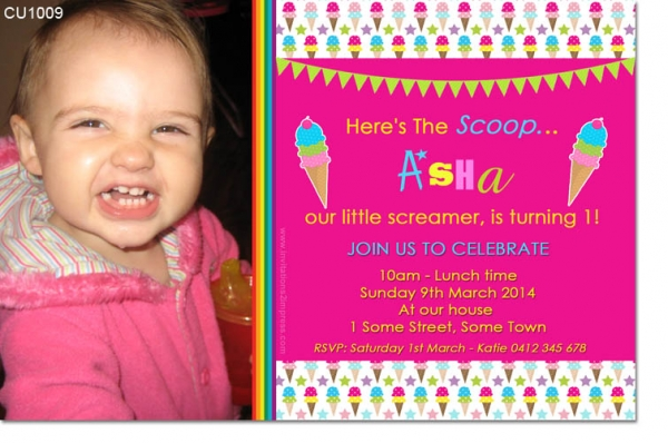 CU1009 - Ice Cream Birthday Party Invitation