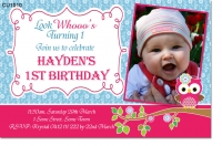 CU1010 - Owl Girls Birthday Invitation