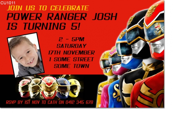 Cu1011 Boys Power Rangers Birthday Invitation Boys