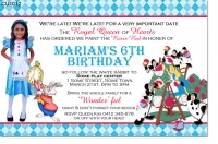 CU1012 - Alice In Wonderland Birthday Invitation