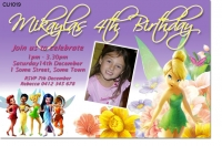 CU1019 - Girls Tinkerbell Birthday Invitation
