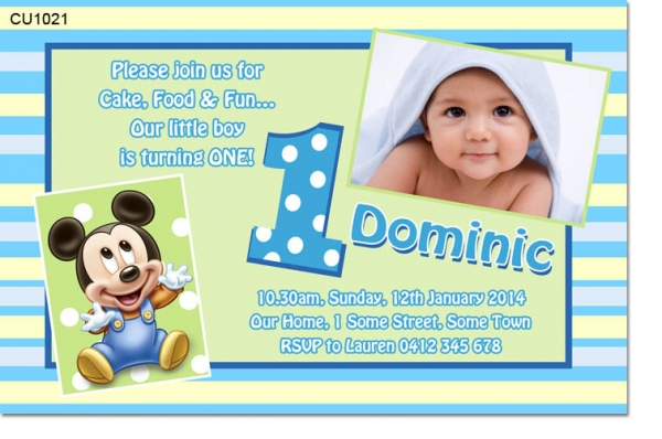 Cu1021 baby mickey mouse birthday invitation boys themed cu1021 baby mickey mouse birthday invitation stopboris Image collections