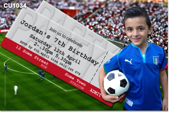 CU1034 - Boys Soccer Ticket Birthday Invitation