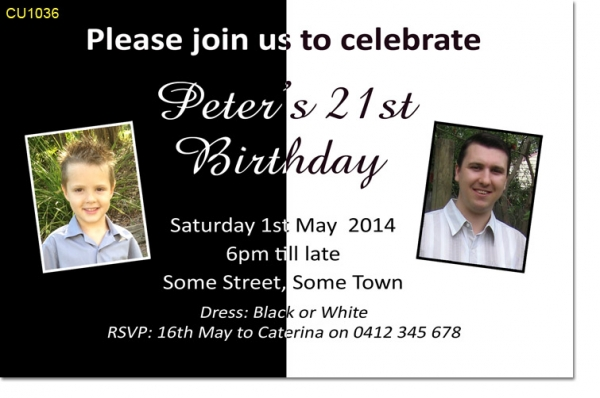 CU1036 - Black and White themed birthday invitation
