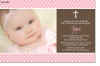 CU1037 - Girls Christening Invitation with Cross