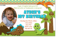 CU1038 - Boys Baby Dinosaur Birthday Invitation