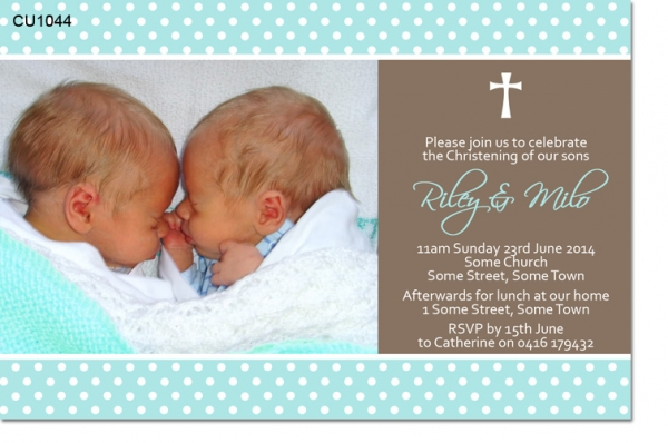 twins joint christening baptismal photo invitations thankyou cards