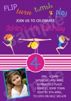 CU1046 - Girls Gymnastics Birthday Invitation