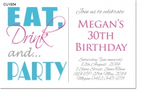 CU1054 - Eat Drink Party Adults Birthday Invitation