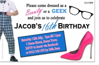 CU1055 - Beauty and The Geek Themed Birthday Invitation