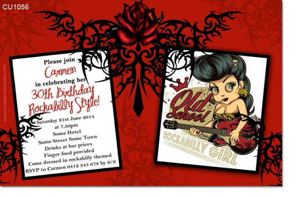 Cu1056 Rockabilly Birthday Invitation Ladies Birthday