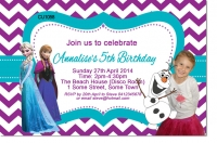 CU1058 - Girls Frozen Photo Birthday Invitation