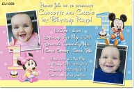 CU1059 - Mickey and Minnie joint birthday invitation