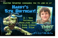 CU1063 - Leonardo Ninja Turtles Birthday Invitation TMNT