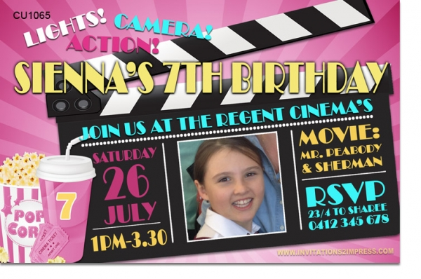 CU1065 - Movies Birthday Invitation