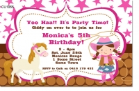 CU1066 - Girls Horse Riding Birhday Invitation
