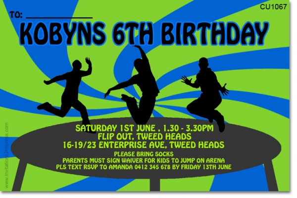 Cu1067 boys trampoline party boys themed birthday invitations cu1067 boys trampoline party stopboris Gallery
