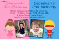 CU1070 - Unisex Superhero and Princess Birthday Invitation