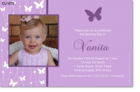 CU1076 - Girls Butterfly Naming Day Invitation