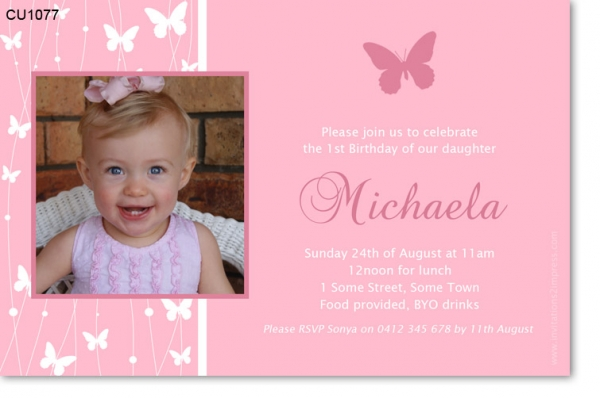 CU1077 - Girls Butterfly Birthday Invitation