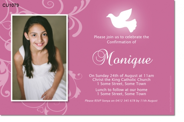 CU1079 - Girls Confirmation 1st Communion Invitation
