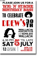 CU1083 - Wig and Stache Birthday invitation