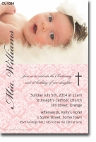 CU1084 - Damask Christening Invitation