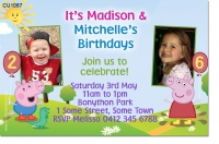 CU1087 - Peppa and George Pig Birthday Invitation