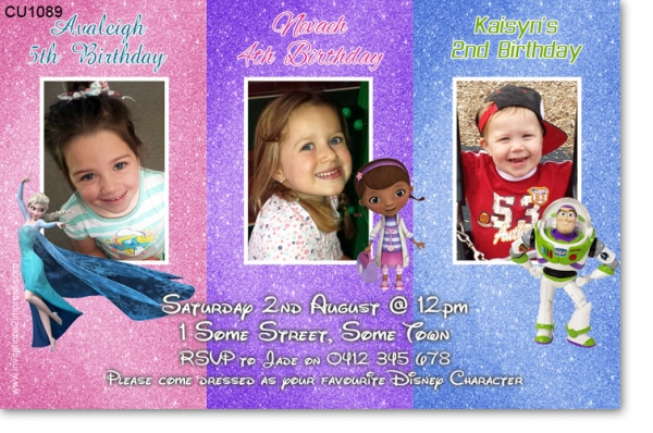 Twins Joint Birthday Invitations Birthday Party Invitations – Dual Birthday Party Invitations