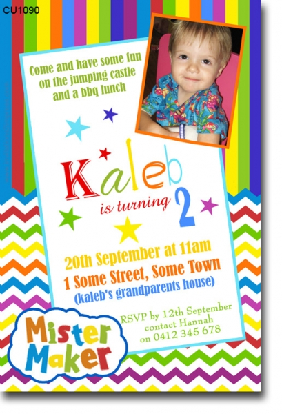 CU1090 Mister Maker Birthday Invitation Boys Themed Birthday – Birthday Invitation Maker