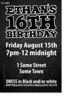 CU1093 - Black and White Teenage Boy Birthday Invitation