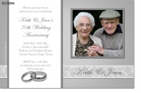 CU1094 - 70th Wedding Anniversary Platinum Invitation